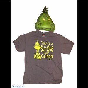 Dr Seuss Grinch vintage large shirt W/ face mask